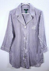 Women's Ralph Lauren Purple Logo  Striped Pajama Shirt Dress Cotton Sz XL