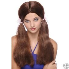 Brown Long Pig Tails With Ribbons  Wig Lady Party Dress up Halloween Costume