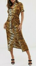 Ladies Misguided Tiger Print Midi Shirt Dress UK 10, 12