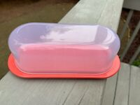 FREE SHIPPING! 2020 Tupperware Impressions Coral Color Butter Cheese Dish LTD ED