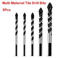 5Pcs Multi-Material Hole Drill Bit Set for Tile, Concrete, Brick, Glass, Plastic