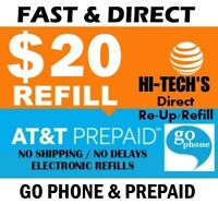 $20 AT&T FASTEST PREPAID REFILL DIRECT to PHONE 🔥GET IT TODAY!🔥TRUSTED SELLER