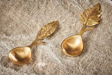 Set of 2 Short Handled Brass Woodland Leaf Spoons, Gift Box, Kitchenware, Nkuku