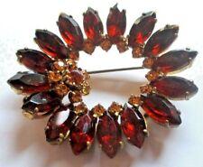 Grande broche couleur or navettes résine cristaux topaze bijou vintage 5181