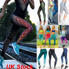 New Womens Print Stretch Sports Leggings Fitness Pants Yoga Gym Running Trousers
