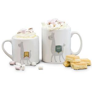 Personalised Llama Family Coffee Tea Mug Set Mummy Daddy Baby Birthday Gift