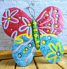 Butterfly Large Fence Mounted Garden Decor Flying Metal Art Hand Painted Wings