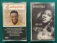 """2 """"UNFORGETTABLE"""" Cassettes - Songs By Nat """"King"""" Cole & With Love Natalie Cole"""