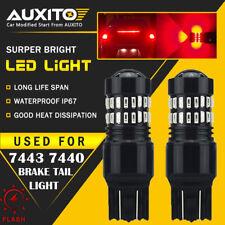 2X 7443 Flash Strobe Blinking Alert Safety Brake Tail Stop Light LED RED Bulb EA