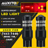 2X 7443 Flash Strobe Blinking Alert Safety Brake Tail Stop Light LED RED Bulb EA