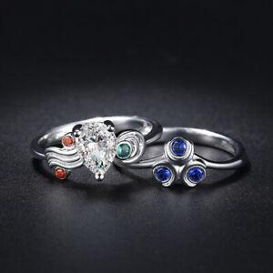 Zelda Zora Sapphire Kokiri Emerald Goron Ruby 925 Silver Engagement Wedding Set