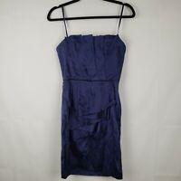 BCBG Maxazria Navy Blue Pleated Detail Faux Wrap Silk Strapless Mini Dress Sz 2
