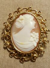 Carved Shell Cameo Brooch Pendant Heavy Estate Vintage 14k Solid Yellow Gold