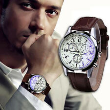 Luxury Men's Sport Watch Stainless steel Leather Military Analog Quartz Watches