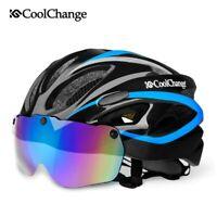 CoolChange Casque de vélo pour la Route et VTT EPS 2 lentilles Cyclisme