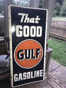 Large Gulf Gasoline porcelain Sign