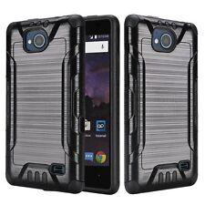 For ZTE Majesty Pro Z799VL / Z798BL Slim Brushed Hybrid Phone Cover Case - Black
