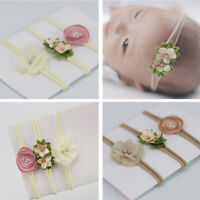 3PCS Newborn Chiffon Elastic Headband Flower Hair Band Photo Props Baby Shower