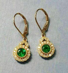 1.50Ct Round Cut Green Emerald and Diamond Halo Earrings 14K Yellow Gold Finish
