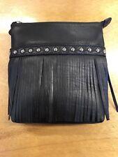 9ae414b1e6 ILI Genuine Leather Midi Crossbody Bag With Fringe In Black