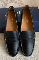 BNIB MENS POLO RALPH LAUREN LEATHER WES SLIP ON SHOES/DRIVERS SHOES SIZE UK 9 43