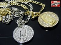 Hip Hop Iced Out Necklace Virgin Mary Jesus Circle Pendant Crystal Figaro Chain