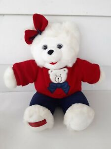 "Holly Berry Teddy Bear Plush White Bear 1997 18"""