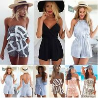 Womens Off Shoulder Mini Playsuit Beach Jumpsuit Shorts Romper Casual Sundress