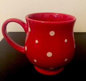 New Red Polka Dot 16 oz Mug Cup Temptations By Tara