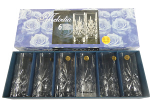 Melodia Set of 6 Highball Crystal Tumblers Boxed Intricate Design Made in Italy