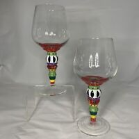South Coast Mouth Blown Wine Glass Set Pair 2 Colorful Funky Dining Goblets