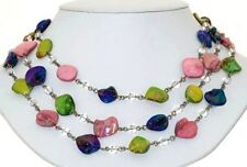 ISBN- ST-TTOM-18-MC Glass Stones & Clear Crystals Gems Necklace 18''  £65.00