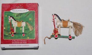 "Hallmark A Pony For Christmas Tree Keepsake Ornament 2000 Box Wooden Wood 2.5"""