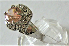 Crystals Electro Plated Metal 16mm Size K 1 New Fashion Ring Light Peach & Clear