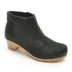 Ladies Dansko Maria Zip Ankle Boots 39 / 8.5 Black Nubuck Heels Booties Shoes