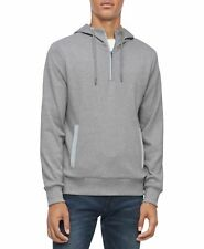 Calvin Klein Mens Sweater Gray US Size XL 1/4 ZIPPER Pullover Hooded 288