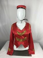 Vintage Rare 1950's Red And Gold Woman Bell Hop Hotel Worker Uniform With Hat