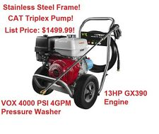 VOX 4000 PSI 4 GPM Honda GX390 Engine Gas Power Pressure Washer Cat Triplex Pump