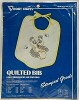 1982 Vogart Crafts Stamped Cross Stitch Quilted Baby Bib To Embroider Kit 8364