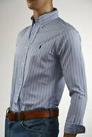 Ralph Lauren Custom Fit Blue & White Long Sleeve Shirt/Blue Pony- NWT