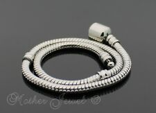 LARGE 24CM WHITE GOLD PLATED SNAKE EUROPEAN BEAD WOMEN BRACELET LONG 9.5 INCHES
