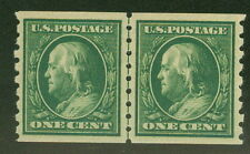 US #392 1¢ green, p. 8 ½  Coil Line Pair, og, LH, XF/Superb, PF certificate