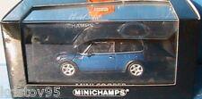 MINI COOPER BLUE METALLIC BLACK ROOF MINICHAMPS 1/43 BLEU METAL TOIT NOIR BMW