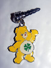 Yellow care bear Lucky Clover belly charm anti-dust 3.5mm iphone 4 4s Nooks PDA