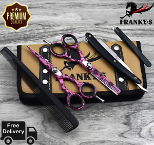 "5.5"" Pink Professional Salon Hair Cutting Scissors Thinner Barber Shears Razor"