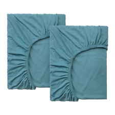 Ikea Len Fitted Sheet F/Extend Bed Set of 2 Turquoise 704.018.86