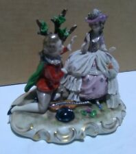 Antique Ackermann & Fritze Dresden lace Porcelain figurine German Signed Worldwi