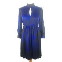 Warehouse 16 Black Blue Silk Dress Bubble Hem Puffball Party Long Sleeve Xmas