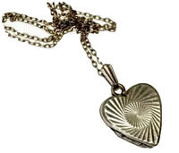 """Vintage Sterling Silver Heart Locket Photo Pendant 16"""" Chain Necklace GIFT BOXED"""