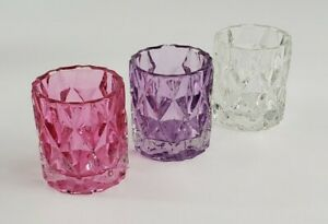 Set of 3 Yankee Candle FRACTAL VOTIVE HOLDERS - PINK PURPLE CLEAR #1626465